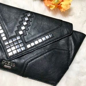 e0a3a9d10c1e Guess Bags - GUESS Marysa Black Leather Studded Clutch Bag
